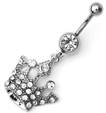 Stainless Steel Jeweled Belly Ring With Dangling Crown Stone